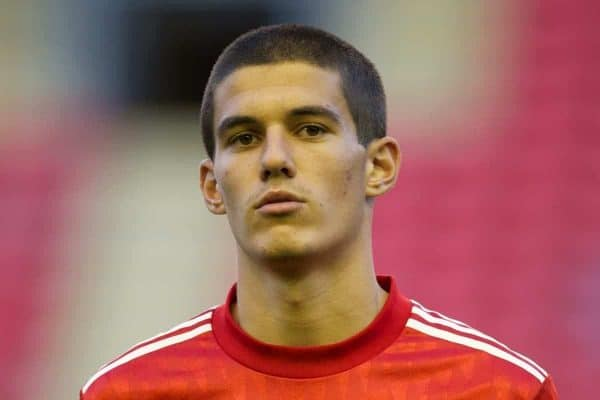 LIVERPOOL, ENGLAND - Wednesday, September 14, 2011: Liverpool's captain Conor Coady against VfL Wolfsburg during the NextGen Series Group 2 match at Anfield. (Pic by David Rawcliffe/Propaganda)