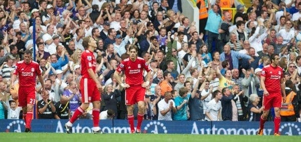 LONDON, ENGLAND - Sunday, September 18, 2011: Liverpool's Jamie Carragher, Lucas Leiva, Sebastian Coates and Jose Enrique look dejected as Tottenham Hotspur score the second goal during the Premiership match at White Hart Lane. (Pic by David Rawcliffe/Propaganda)