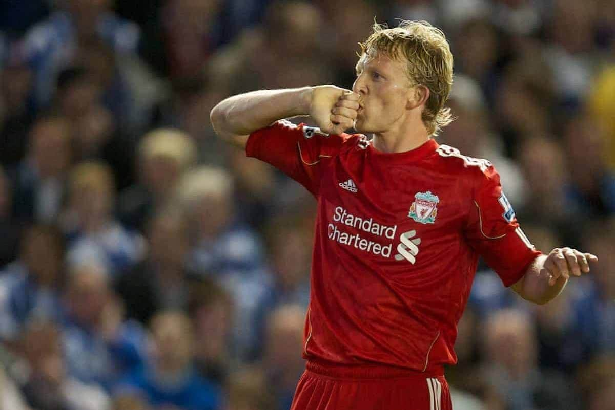 BRIGHTON, ENGLAND - Wednesday, September 21, 2011: Liverpool's Dirk Kuyt celebrates scoring the second goal against Brighton & Hove Albion during the Football League Cup 3rd Round match at the Amex Stadium. (Pic by David Rawcliffe/Propaganda)