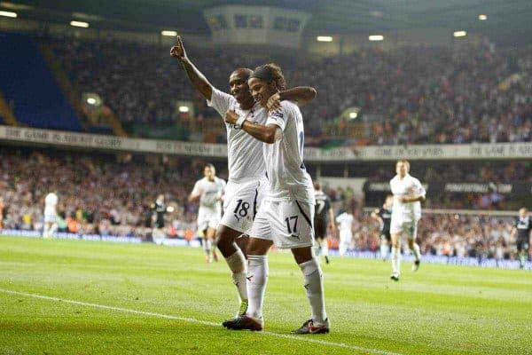 LONDON, ENGLAND - THURSDAY, SEPTEMBER 29, 2011: Tottenham Hotspur's Giovani Dos Santos celebrates scoring his side's third goal against Shamrock Rovers with team-mate Jermain Defoe during the UEFA Europa League Group A match at White Hart Lane. (Photo by Chris Brunskill/Propaganda)