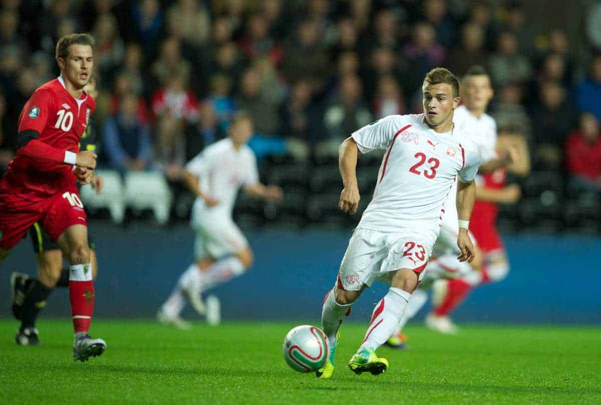 SWANSEA, WALES - Friday, October 7, 2011: Switzerland's Xherdan Shaqiri in action against Wales during the UEFA Euro 2012 Qualifying Group G match at the Liberty Stadium. (Pic by David Rawcliffe/Propaganda)