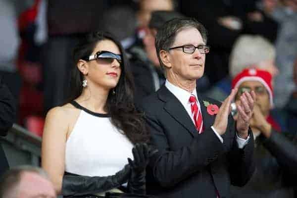 LIVERPOOL, ENGLAND - Saturday, November 5, 2011: Liverpool's owner John W. Henry with his wife Linda Pizzuti during the Premiership match against Swansea City at Anfield. (Pic by David Rawcliffe/Propaganda)