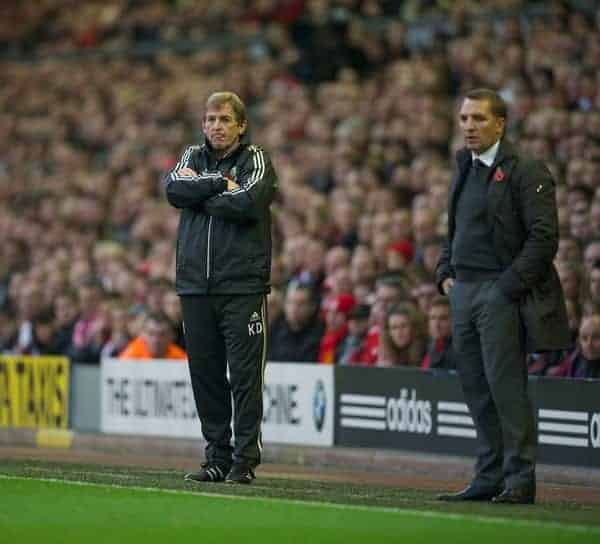 LIVERPOOL, ENGLAND - Saturday, November 5, 2011: Liverpool's manager Kenny Dalglish during the Premiership match against Swansea City at Anfield. (Pic by David Rawcliffe/Propaganda)