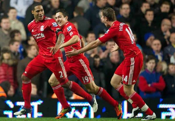 LONDON, ENGLAND - Sunday, November 20, 2011: Liverpool's Glen Johnson celebrates scoring the second goal against Chelsea with team-mates Stewart Downing and Jordan Henderson during the Premiership match at Stamford Bridge. (Pic by David Rawcliffe/Propaganda)