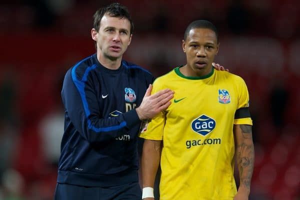 MANCHESTER, ENGLAND - Wednesday, November 29, 2011: Crystal Palace's manager Dougie Freedman celebrates with Nathaniel Clyne after his side's 2-1 victory over Manchester United during the Football League Cup Quarter-Final match at Old Trafford. (Pic by David Rawcliffe/Propaganda)