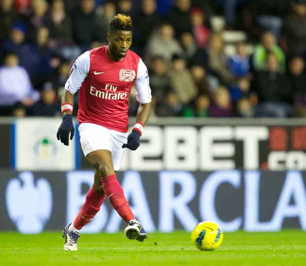 WIGAN, ENGLAND - Saturday, December 3, 2011: Arsenal's Alex Song in action against Wigan Athletic during the Premiership match at the DW Stadium. (Pic by Vegard Grott/Propaganda)