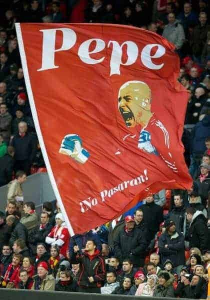 LIVERPOOL, ENGLAND - Saturday, December 10, 2011: A supporters flag of Liverpool's goalkeeper Jose Reina on the Spion Kop before the Premiership match between Liverpool and Queens Park Rangers at Anfield. (Pic by David Rawcliffe/Propaganda)