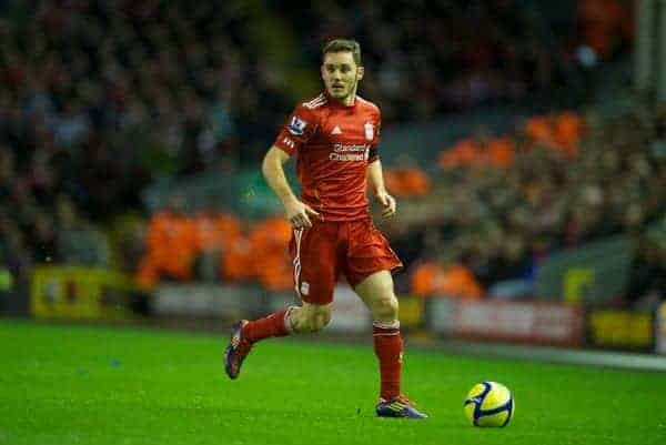 LIVERPOOL, ENGLAND - Friday, January 6, 2012: Liverpool's Fabio Aurelio in action against Oldham Athletic during the FA Cup 3rd Round match at Anfield. (Pic by David Rawcliffe/Propaganda)
