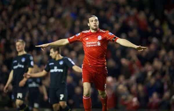 LIVERPOOL, ENGLAND - Friday, January 6, 2012: Liverpool's Andy Carroll celebrates scoring his side's fourth goal against Oldham Athletic during the FA Cup 3rd Round match at Anfield. (Pic by David Rawcliffe/Propaganda)