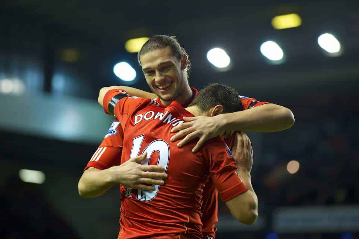 LIVERPOOL, ENGLAND - Friday, January 6, 2012: Liverpool's Stewart Downing celebrates scoring his first goal for the club, his side's fifth against Oldham Athletic with team-mate Andy Carroll during the FA Cup 3rd Round match at Anfield. (Pic by David Rawcliffe/Propaganda)