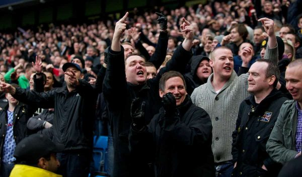 MANCHESTER, ENGLAND - Sunday, January 8, 2012: Manchester United's supporters taunt the City fans during the FA Cup 3rd Round match at the City of Manchester Stadium. (Pic by David Rawcliffe/Propaganda)