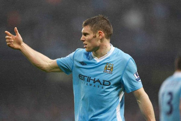 MANCHESTER, ENGLAND - Sunday, January 8, 2012: Manchester City's James Milner in action against Manchester United during the FA Cup 3rd Round match at the City of Manchester Stadium. (Pic by Vegard Grott/Propaganda)