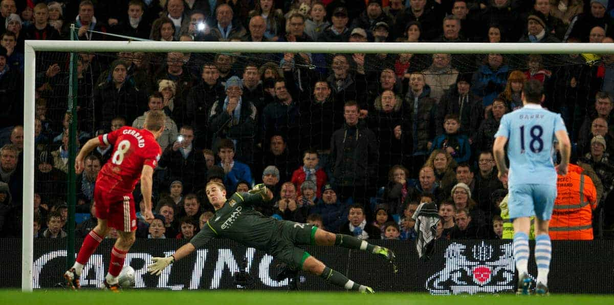 MANCHESTER, ENGLAND - Wednesday, January 11, 2012: Liverpool's captain Steven Gerrard scores the first goal from the penalty spot against Manchester City's goalkeeper Joe Hart during the Football League Cup Semi-Final 1st Leg at the City of Manchester Stadium. (Pic by David Rawcliffe/Propaganda)
