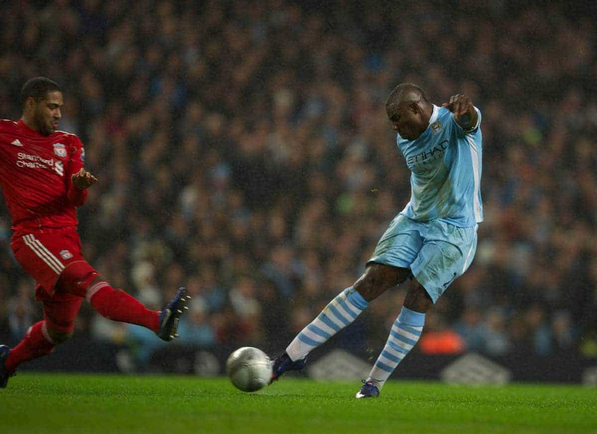 MANCHESTER, ENGLAND - Wednesday, January 11, 2012: Manchester City's captain Micah Richards in action against Liverpool during the Football League Cup Semi-Final 1st Leg at the City of Manchester Stadium. (Pic by David Rawcliffe/Propaganda)