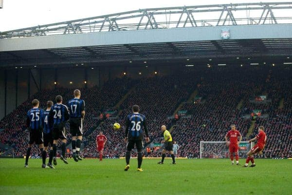 LIVERPOOL, ENGLAND - Saturday, January 14, 2012: Liverpool's captain Steven Gerrard takes a free-kick against Stoke City during the Premiership match at Anfield. (Pic by David Rawcliffe/Propaganda)