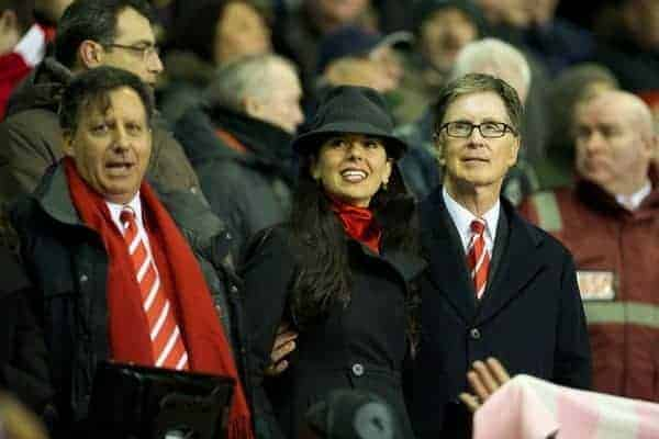 LIVERPOOL, ENGLAND - Wednesday, January 25, 2012: Liverpool's owner John W. Henry and wife Linda Pizzuti during the Football League Cup Semi-Final 2nd Leg against Manchester City at Anfield. (Pic by David Rawcliffe/Propaganda)
