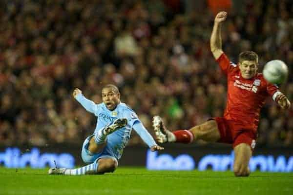 LIVERPOOL, ENGLAND - Wednesday, January 25, 2012: Manchester City's Nigel de Jong scores the first goal against Liverpool during the Football League Cup Semi-Final 2nd Leg at Anfield. (Pic by David Rawcliffe/Propaganda)