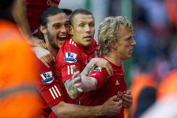 LIVERPOOL, ENGLAND - Saturday, January 28, 2012: Liverpool's match-winner Dirk Kuyt celebrates scoring the second goal against against Manchester United to seal a 2-1 victory, with team-mates Craig Bellamy and Andy Carroll, during the FA Cup 4th Round match at Anfield. (Pic by David Rawcliffe/Propaganda)