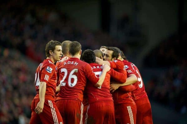 LIVERPOOL, ENGLAND - Saturday, February 19, 2012: Liverpool's Glen Johnson celebrates his side's second goal against Brighton & Hove Albion with team-mates Jordan Henderson, Charlie Adam, Luis Alberto Suarez Diaz, Jose Enrique and Andy Carroll during the FA Cup 5th Round match at Anfield. (Pic by David Rawcliffe/Propaganda)