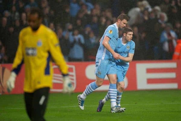 MANCHESTER, ENGLAND - Wednesday, February 22, 2012: Manchester City's Edin Dzeko celebrates scoring the second goal against FC Porto with James Milner during the UEFA Europa League Round of 32 2nd Leg match at City of Manchester Stadium. (Pic by David Rawcliffe/Propaganda)