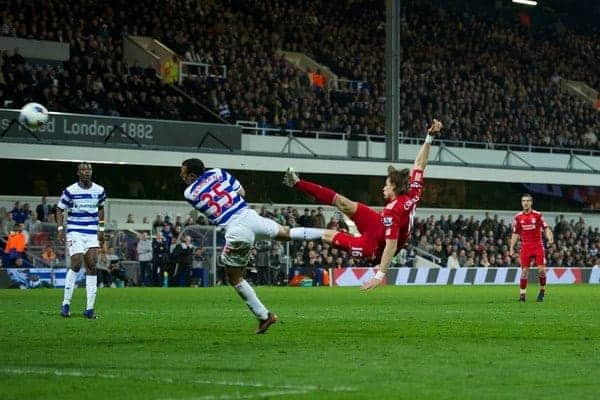 LONDON, ENGLAND - Wednesday, March 21, 2012: Liverpool's Sebastian Coates his first goal for the club to give the Reds a 1-0 lead over Queens Park Rangers during the Premiership match at Loftus Road. (Pic by David Rawcliffe/Propaganda)