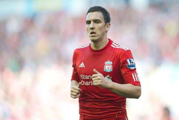 LIVERPOOL, ENGLAND - Saturday, March 24, 2012: Liverpool's Stewart Downing in action against Wigan Athletic during the Premiership match at Anfield. (Pic by David Rawcliffe/Propaganda)