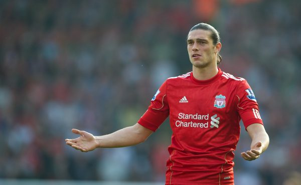 LIVERPOOL, ENGLAND - Saturday, March 24, 2012: Liverpool's Andy Carroll looks dejected as referee Lee Mason dissallows what would be his side's second goal during the Premiership match against Wigan Athletic at Anfield. (Pic by David Rawcliffe/Propaganda)