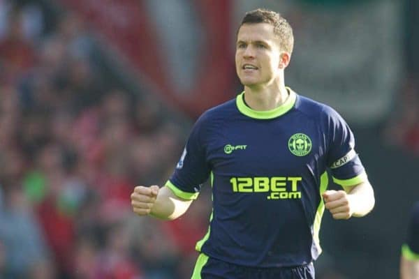 LIVERPOOL, ENGLAND - Saturday, March 24, 2012: Wigan Athletic's Gary Caldwell elebrates scoring the winning goal against Liverpool during the Premiership match at Anfield. (Pic by David Rawcliffe/Propaganda)