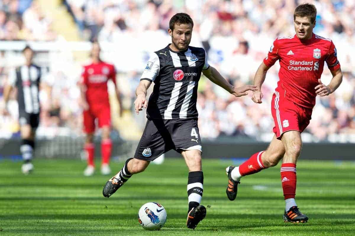 NEWCASTLE-UPON-TYNE, ENGLAND - Sunday, April 1, 2012: Liverpool's captain Steven Gerrard MBE in action against Newcastle United's Yohan Cabaye during the Premiership match at St James' Park. (Pic by Vegard Grott/Propaganda)