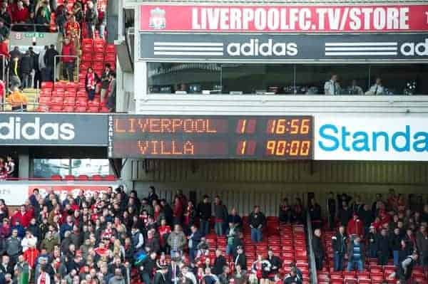 LIVERPOOL, ENGLAND - Saturday, April 7, 2012: The scoreboard records Liverpool's 1-1 draw with Aston Villa during the Premiership match at Anfield. (Pic by David Rawcliffe/Propaganda)