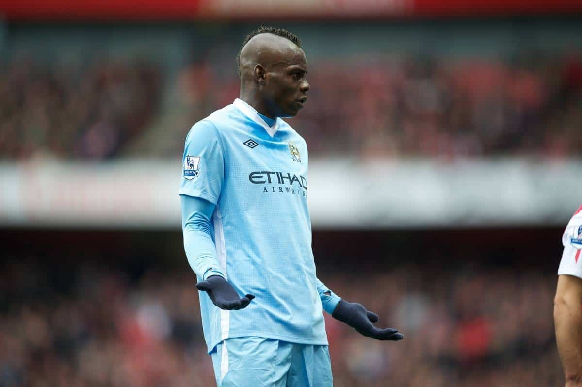 LONDON, ENGLAND - Easter Sunday, April 8, 2012: Manchester City's Mario Balotelli pleads innocence during the Premiership match against Arsenal at the Emirates Stadium. (Pic by David Rawcliffe/Propaganda)