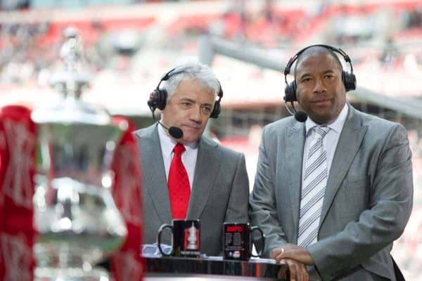 LONDON, ENGLAND - Saturday 14 April 2012: Former Liverpool players Kevin Keegan and John Barnes, work for ESPN, before the FA Cup semi-final match between Liverpool and Everton at Wembley Stadium.  (Image by David Rawcliffe / Propaganda)