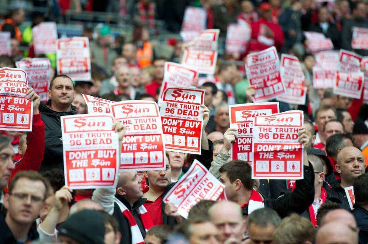 LONDON, ENGLAND - Saturday, April 14, 2012: Liverpool supporters with 'Don't Buy The Sun' posters during the FA Cup Semi-Final match against Everton at Wembley. (Pic by David Rawcliffe/Propaganda)