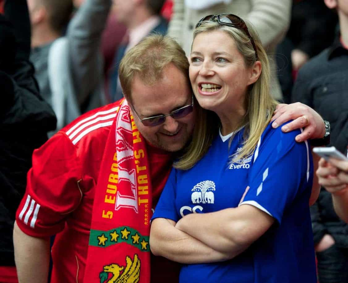 LONDON, ENGLAND - Saturday, April 14, 2012: Liverpool and Everton supporters during the FA Cup Semi-Final match at Wembley. (Pic by David Rawcliffe/Propaganda)