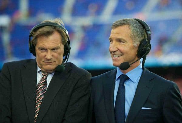 BARCELONA, SPAIN - Tuesday, April 24, 2012: Sky television pudits Glenn Hoddle and Gareme Souness before the UEFA Champions League Semi-Final 2nd Leg match between FC Barcelona and Chelsea at the Camp Nou. (Pic by David Rawcliffe/Propaganda)