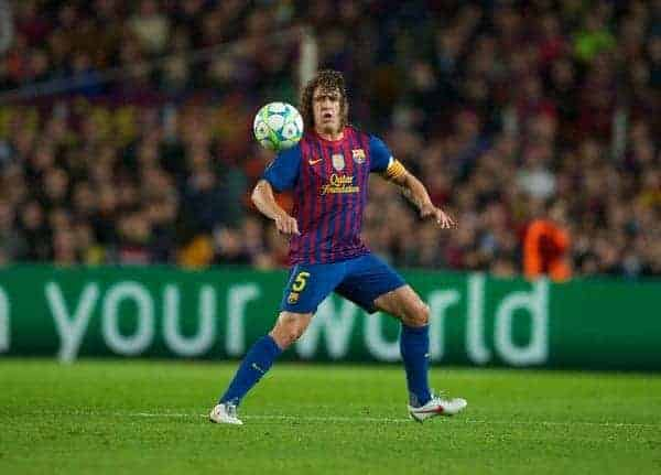 BARCELONA, SPAIN - Tuesday, April 24, 2012: FC Barcelona's Carles Puyol in action against Chelsea during the UEFA Champions League Semi-Final 2nd Leg match at the Camp Nou. (Pic by David Rawcliffe/Propaganda)