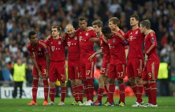 MADRID, SPAIN - Wednesday, April 25, 2012: FC Bayern Munchen's players celebrate during the penalty shoot out against Real Madrid during the UEFA Champions League Semi-Final 2nd Leg match at the Estadio Santiago Bernabeu. L-R: Luiz Gustavo, captain Philipp Lahm, Arjen Robben, Jerome Boateng, Thomas Muller, Holger Badstuber, David Alaba, Mario Gomez, Toni Kroos. (Pic by David Rawcliffe/Propaganda)