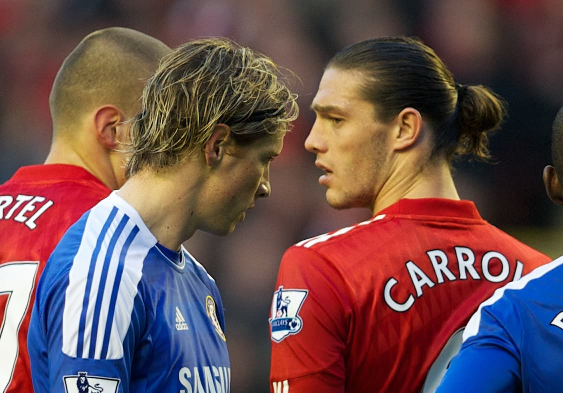 LIVERPOOL, ENGLAND - Tuesday, May 8, 2012: Liverpool's Andy Carroll and Chelsea's Fernando Torres during the final home Premiership match of the season at Anfield. (Pic by David Rawcliffe/Propaganda)