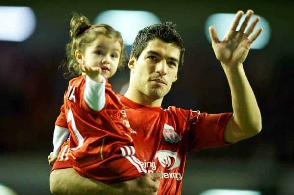 LIVERPOOL, ENGLAND - Tuesday, May 8, 2012: Liverpool's Luis Alberto Suarez Diaz and daughter Delfina wave to the supporters after the final home Premiership match of the season against Chelsea at Anfield. (Pic by David Rawcliffe/Propaganda)