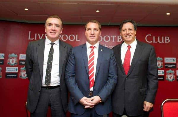 Liverpool's new manager Brendan Rodgers next to managing director Ian Ayre (L) and chairman Tom Werner (R) during a photocall to announce him as the new manager of Liverpool Football Club at Anfield. (Pic by Chris Brunskill/Propaganda)