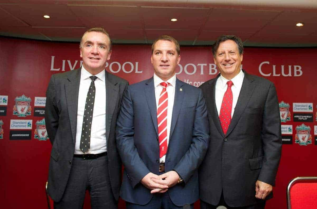 LIVERPOOL, ENGLAND - Friday, June 1, 2012: Liverpool's new manager Brendan Rodgers next to managing director Ian Ayre (L) and chairman Tom Werner (R) during a photocall to announce him as the new manager of Liverpool Football Club at Anfield. (Pic by Chris Brunskill/Propaganda)
