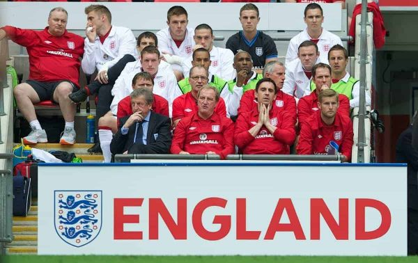 LONDON, ENGLAND - Saturday, June 2, 2012: England's new head coach Roy Hodgson with coach Gary Neville against Belgium during the International Friendly match at Wembley. (Pic by David Rawcliffe/Propaganda)