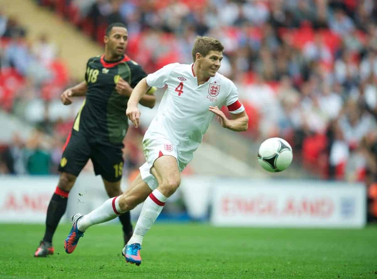 LONDON, ENGLAND - Saturday, June 2, 2012: England's captain Steven Gerrard in action against Belgium during the International Friendly match at Wembley. (Pic by David Rawcliffe/Propaganda)