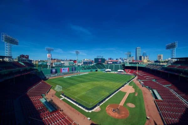 BOSTON, MA - Wednesday, July 25, 2012: A general view of Fenway Park, home of the Boston Red Sox, as a football (soccer) pitch is installed for Liverpool's second match of their North American tour against, AS Roma. (Pic by David Rawcliffe/Propaganda)