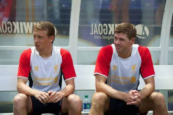 BALTIMORE, MD - Saturday, July 28, 2012: Liverpool's Lucas Leiva and captain Steven Gerrard before a pre-season friendly match against Tottenham Hotspur at the M&T Bank Stadium. (Pic by David Rawcliffe/Propaganda)