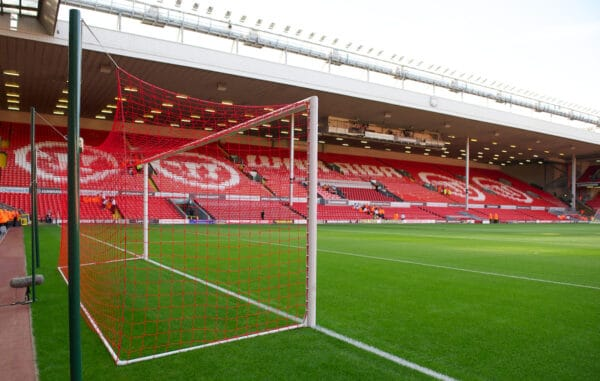LIVERPOOL, ENGLAND - Thursday, August 9, 2012: The new red goal nets in the Kop end goal at Liverpool's Anfield Stadium. Traditionally Liverpool had red nets but recent years of the Premier League they have been white. (Pic by David Rawcliffe/Propaganda)