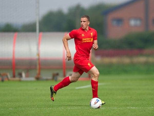 KIRKBY, ENGLAND - Saturday, August 11, 2012: Liverpool's Niall Heaton in action against Nottingham Forest during a friendly match at the Kirkby Academy. (Pic by David Rawcliffe/Propaganda)