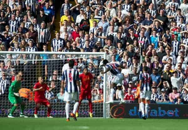 WEST BROMWICH, ENGLAND - Saturday, August 18, 2012: West Bromwich Albion's Romelu Lukaku heads home the third goal against Liverpool to seal a 3-0 victory during the opening Premiership match of the season at the Hawthorns. (Pic by David Rawcliffe/Propaganda)