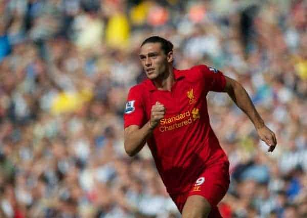 WEST BROMWICH, ENGLAND - Saturday, August 18, 2012: Liverpool's Andy Carroll in action against West Bromwich Albion during the opening Premiership match of the season at the Hawthorns. (Pic by David Rawcliffe/Propaganda)
