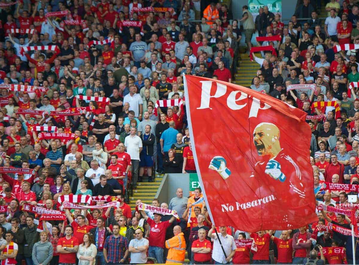 LIVERPOOL, ENGLAND - Sunday, August 26, 2012: A banner of goalkeeper Jose Reina on Liverpool's famous Spion Kop pictured before the Premiership match against Manchester City at Anfield. (Pic by David Rawcliffe/Propaganda)